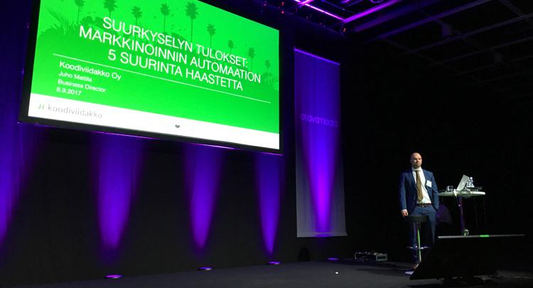 Juho Mattilan puheenvuoro Markkinoinnin Viikolla markkinoinnin automaation haasteista